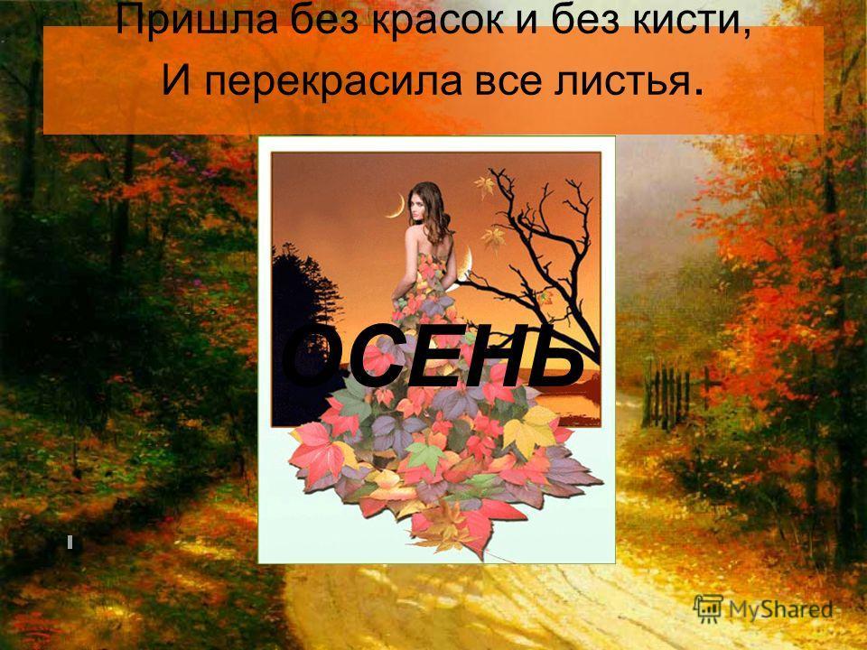 Пришла без красок и без кисти, И перекрасила все листья. ОСЕНЬ