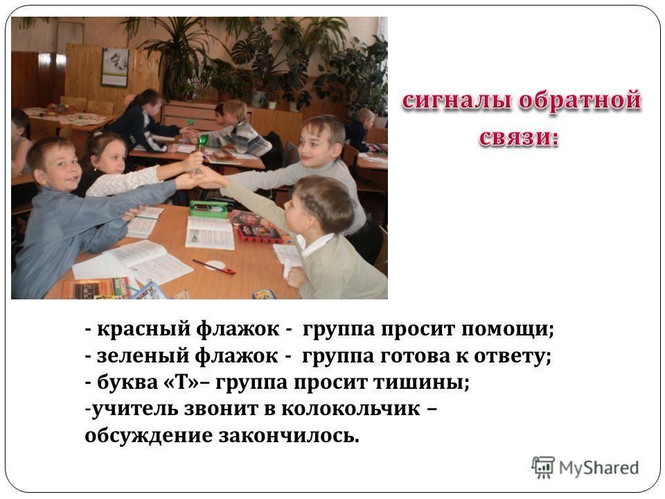 - красный флажок - группа просит помощи; - зеленый флажок - группа готова к ответу; - буква «Т»– группа просит тишины; -учитель звонит в колокольчик – обсуждение закончилось.