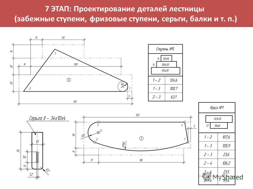 7 ЭТАП: Проектирование деталей лестницы (забежные ступени, фризовые ступени, серьги, балки и т. п.)