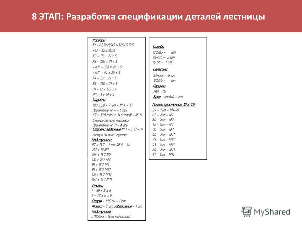 8 ЭТАП: Разработка спецификации деталей лестницы