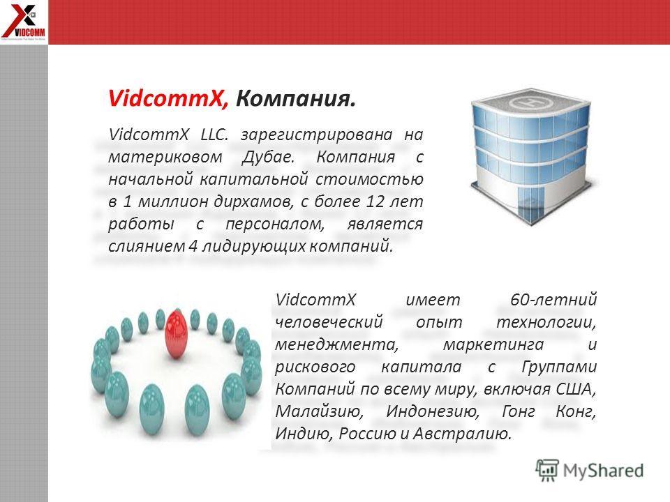 VidcommX LLC. зарегистрирована на материковом Дубае. Компания с начальной капитальной стоимостью в 1 миллион дирхамов, с более 12 лет работы с персоналом, является слиянием 4 лидирующих компаний. VidcommX, Компания. VidcommX имеет 60-летний человечес