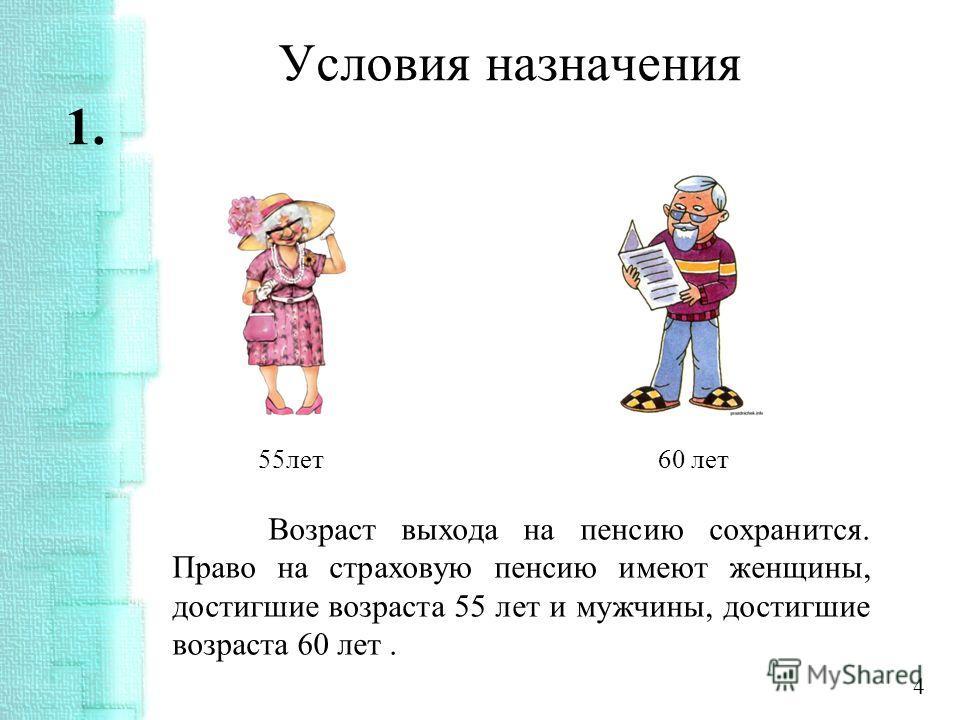 Условия назначения 1. 55 лет 60 лет Возраст выхода на пенсию сохранится. Право на страховую пенсию имеют женщины, достигшие возраста 55 лет и мужчины, достигшие возраста 60 лет. 4