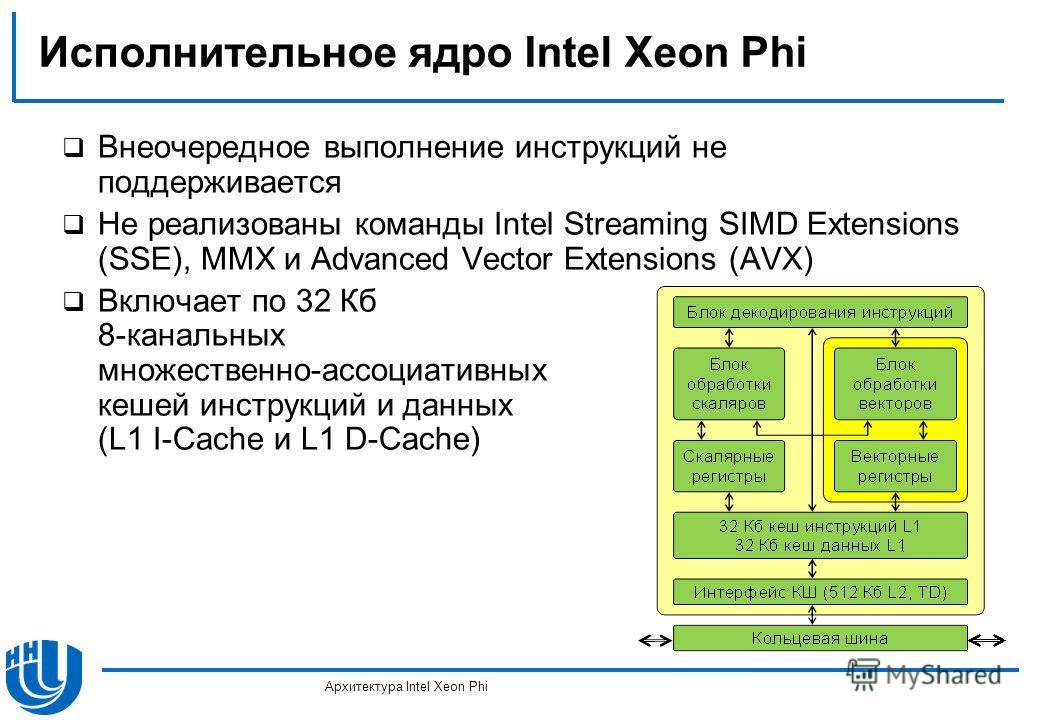 Исполнительное ядро Intel Xeon Phi Внеочередное выполнение инструкций не поддерживается Не реализованы команды Intel Streaming SIMD Extensions (SSE), MMX и Advanced Vector Extensions (AVX) Включает по 32 Кб 8-канальных множественно-ассоциативных кеше