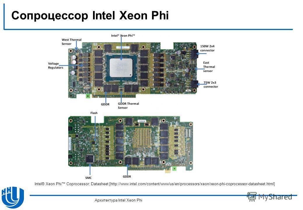 Сопроцессор Intel Xeon Phi Архитектура Intel Xeon Phi Intel® Xeon Phi Coprocessor: Datasheet [http://www.intel.com/content/www/us/en/processors/xeon/xeon-phi-coprocessor-datasheet.html]