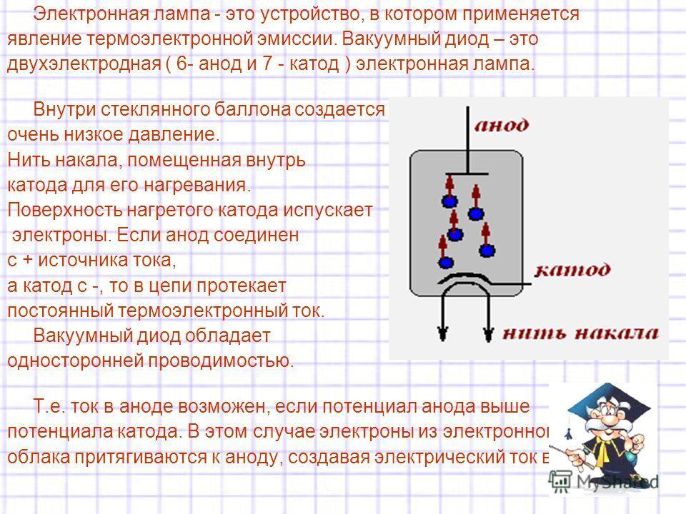 Электронная лампа - это устройство, в котором применяется явление термоэлектронной эмиссии. Вакумуный диод – это двухэлектродная ( 6- анод и 7 - катод ) электронная лампа. Внутри стеклянного баллона создается очень низкое давление. Нить накала, помещ