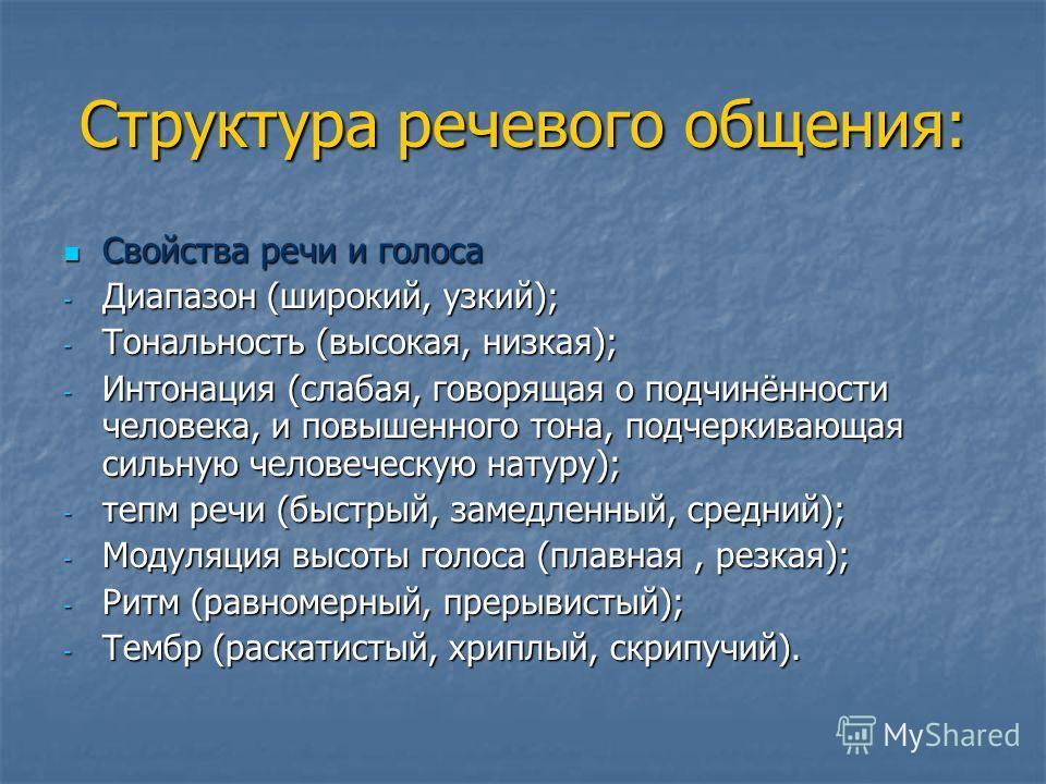 Структура речевого общения: Свойства речи и голоса Свойства речи и голоса - Диапазон (широкий, узкий); - Тональность (высокая, низкая); - Интонация (слабая, говорящая о подчинённости человека, и повышенного тона, подчеркивающая сильную человеческую н