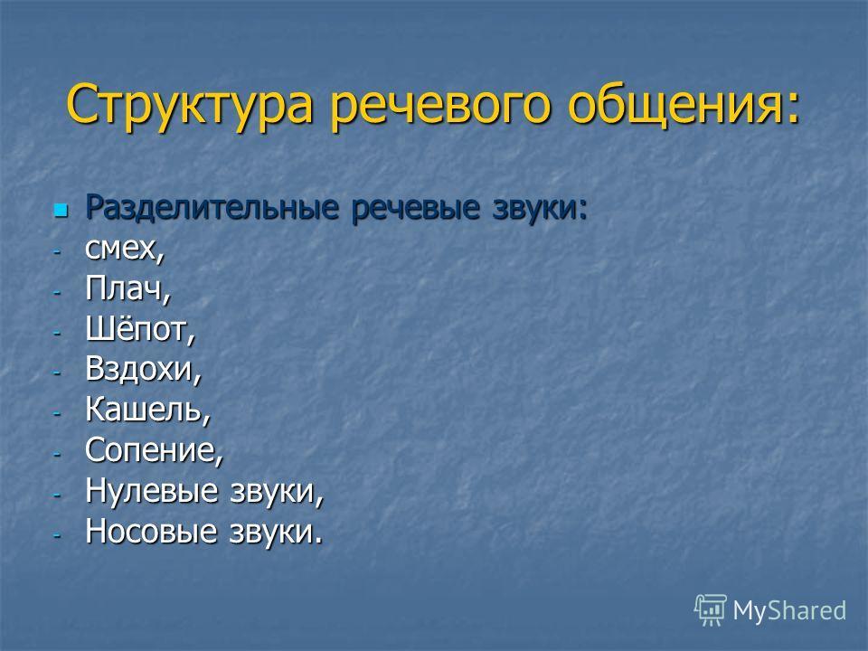 Структура речевого общения: Разделительные речевые звуки: Разделительные речевые звуки: - смех, - Плач, - Шёпот, - Вздохи, - Кашель, - Сопение, - Нулевые звуки, - Носовые звуки.