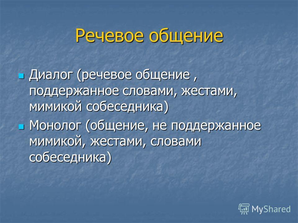 Речевое общение Диалог (речевое общение, поддержанное словами, жестами, мимикой собеседника) Диалог (речевое общение, поддержанное словами, жестами, мимикой собеседника) Монолог (общение, не поддержанное мимикой, жестами, словами собеседника) Монолог