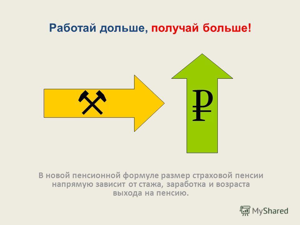 Работай дольше, получай больше! В новой пенсионной формуле размер страховой пенсии напрямую зависит от стажа, заработка и возраста выхода на пенсию.