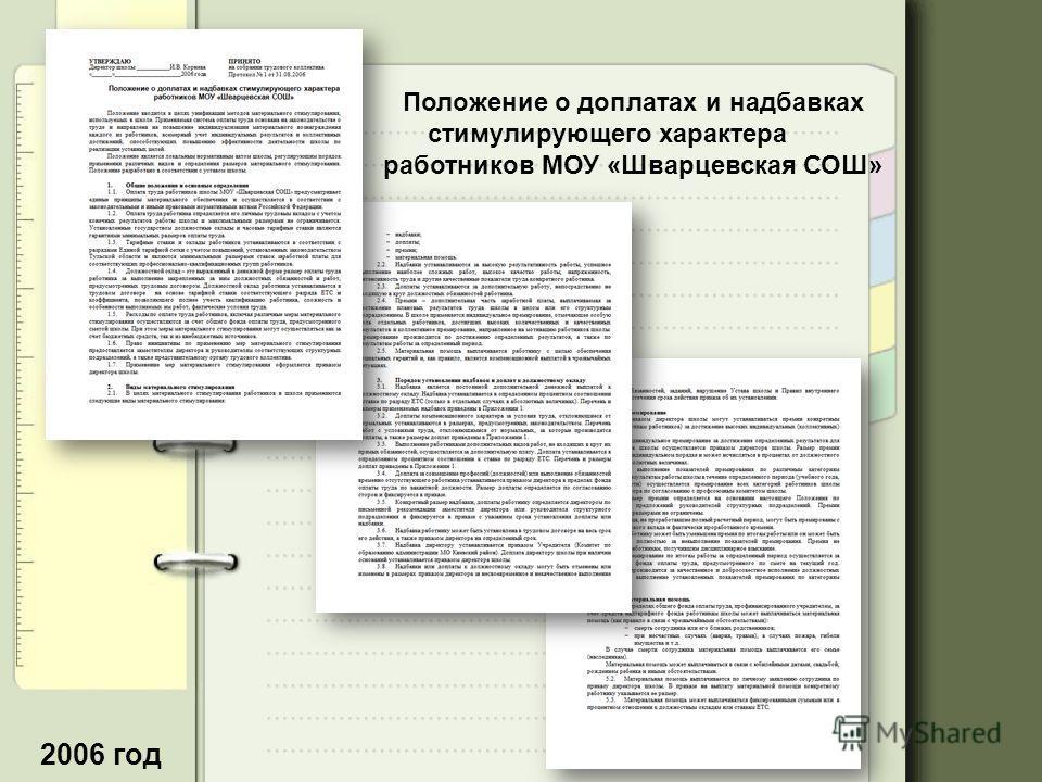 2006 год Положение о доплатах и надбавках стимулирующего характера работников МОУ «Шварцевская СОШ»