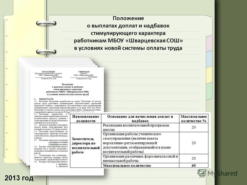 2013 год Положение о выплатах доплат и надбавок стимулирующего характера работникам МБОУ «Шварцевская СОШ» в условиях новой системы оплаты труда