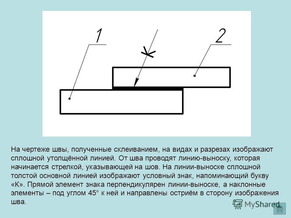 На чертеже швы, полученные склеиванием, на видах и разрезах изображают сплошной утолщённой линией. От шва проводят линию-выноску, которая начинается стрелкой, указывающей на шов. На линии-выноске сплошной толстой основной линией изображают условный з