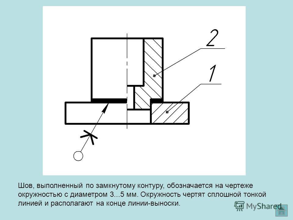 Шов, выполненный по замкнутому контуру, обозначается на чертеже окружностью с диаметром 3...5 мм. Окружность чертят сплошной тонкой линией и располагают на конце линии-выноски.