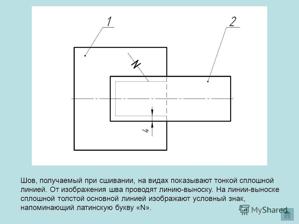 Шов, получаемый при сшивании, на видах показывают тонкой сплошной линией. От изображения шва проводят линию-выноску. На линии-выноске сплошной толстой основной линией изображают условный знак, напоминающий латинскую букву «N».