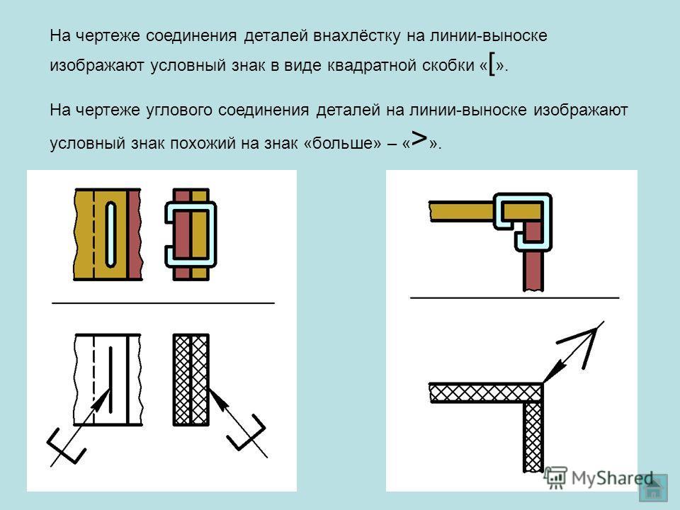 На чертеже соединения деталей внахлёстку на линии-выноске изображают условный знак в виде квадратной скобки « [ ». На чертеже углового соединения деталей на линии-выноске изображают условный знак похожий на знак «больше» – « > ».