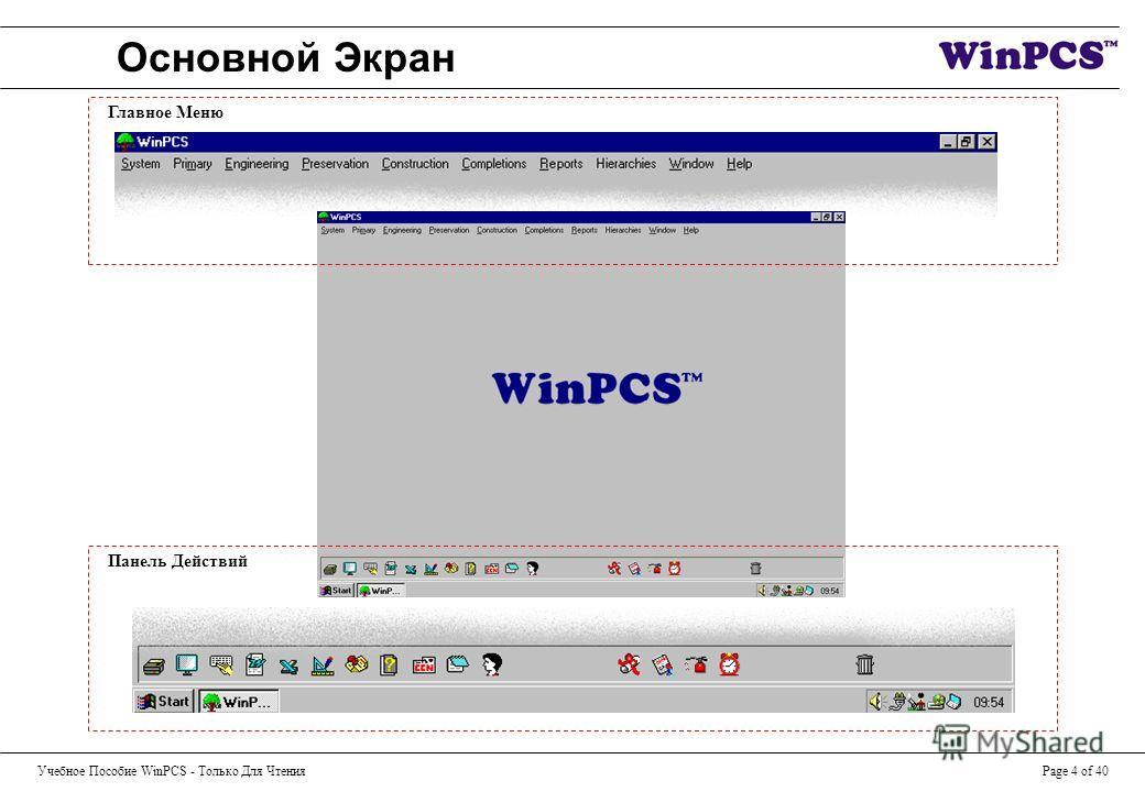Учебное Пособие WinPCS - Только Для ЧтенияPage 4 of 40 Основной Экран Панель Действий Главное Меню