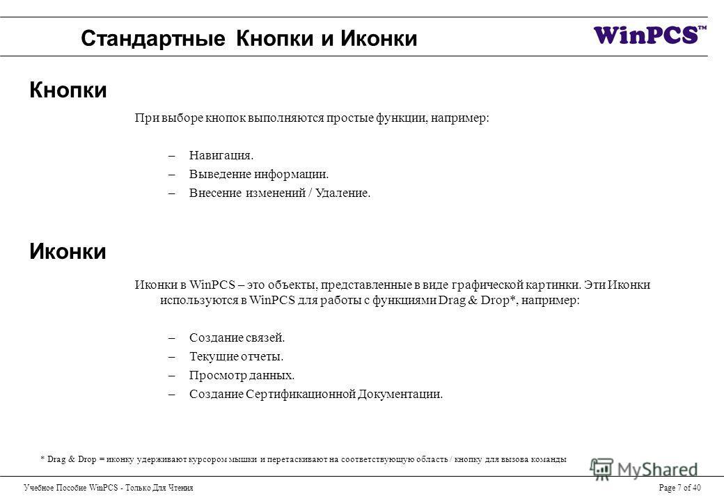 Учебное Пособие WinPCS - Только Для ЧтенияPage 7 of 40 Стандартные Кнопки и Иконки Иконки в WinPCS – это объекты, представленные в виде графической картинки. Эти Иконки используются в WinPCS для работы с функциями Drag & Drop*, например: –Создание св