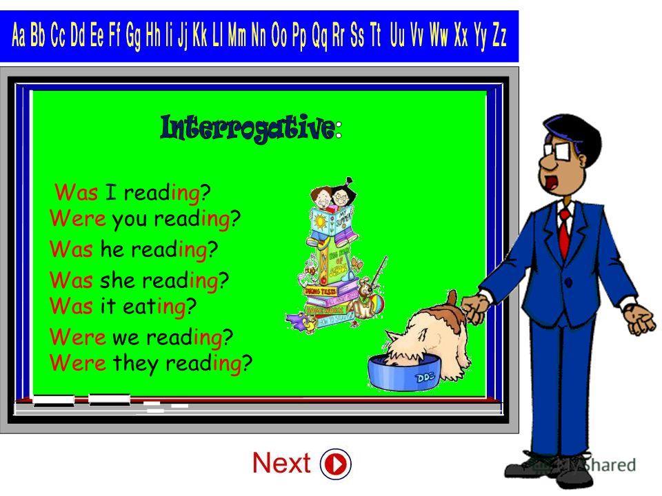 I wasn´t reading. you weren´t reading. he wasn´t reading. she wasn´t reading. it wasn´t eating. we weren´t reading. they weren´t reading.