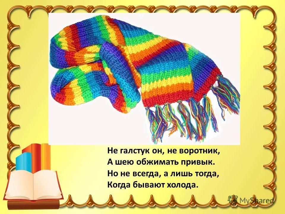 Не галстук он, не воротник, А шею обжимать привык. Но не всегда, а лишь тогда, Когда бывают холода.