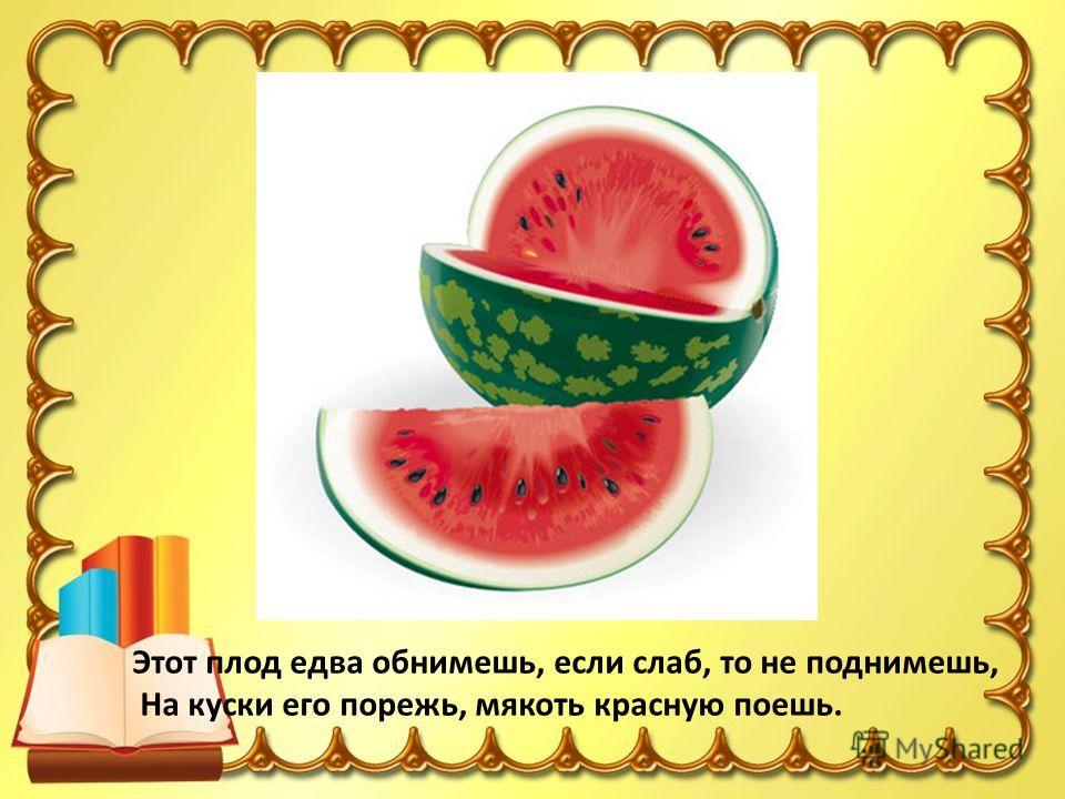 Этот плод едва обнимешь, если слаб, то не поднимешь, На куски его порежь, мякоть красную поешь.