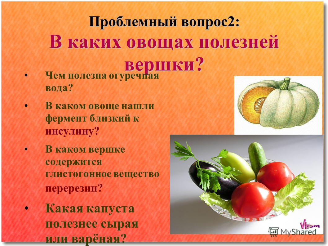 Проблемный вопрос 2: В каких овощах полезней вершки? Чем полезна огуречная вода? В каком овоще нашли фермент близкий к инсулину? В каком вершке содержится глистогонное вещество перерезан? Какая капуста полезнее сырая или варёная?