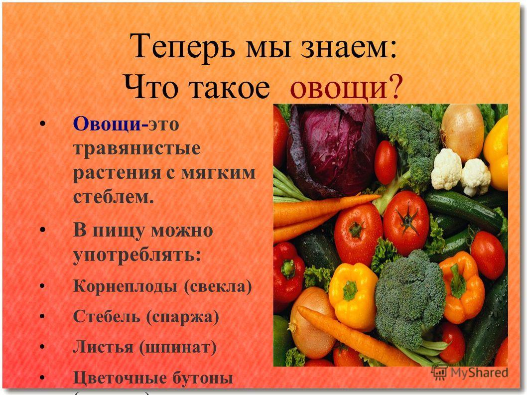Теперь мы знаем: Что такое овощи? Овощи-это травянистые растения с мягким стеблем. В пищу можно употреблять: Корнеплоды (свекла) Стебель (спаржа) Листья (шпинат) Цветочные бутоны (капуста)