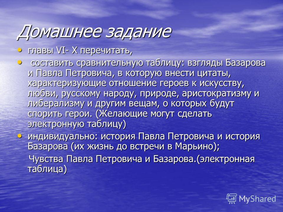 Домашнее задание главы VI- X перечитать, главы VI- X перечитать, составить сравнительную таблицу: взгляды Базарова и Павла Петровича, в которую внести цитаты, характеризующие отношение героев к искусству, любви, русскому народу, природе, аристократиз