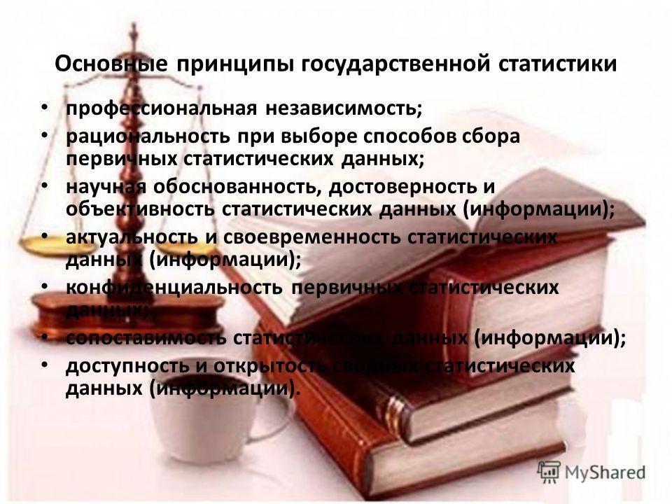 Основные принципы государственной статистики профессиональная независимость; рациональность при выборе способов сбора первичных статистических данных; научная обоснованность, достоверность и объективность статистических данных (информации); актуально