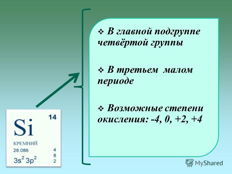 В главной подгруппе четвёртой группы В третьем малом периоде Возможные степени окисления: -4, 0, +2, +4