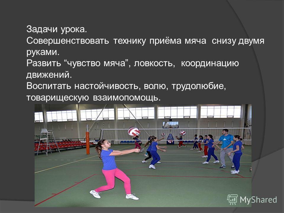 Задачи урока. Совершенствовать технику приёма мяча снизу двумя руками. Развить чувство мяча, ловкость, координацию движений. Воспитать настойчивость, волю, трудолюбие, товарищескую взаимопомощь.