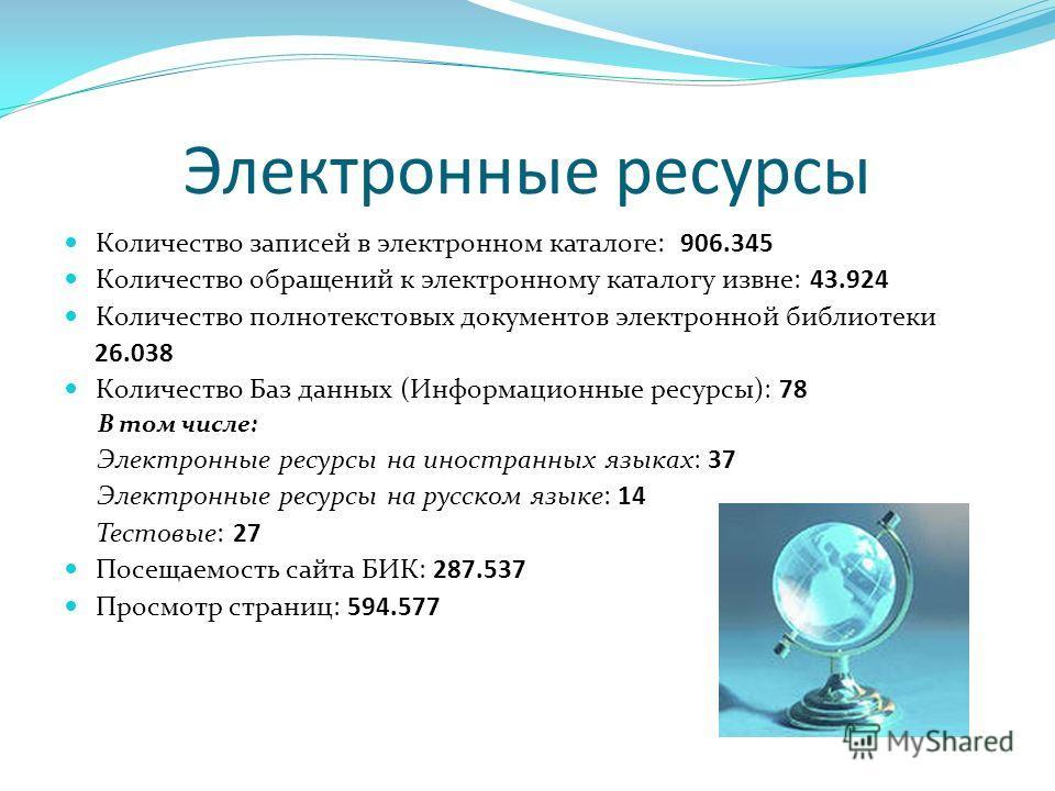Электронные ресурсы Количество записей в электронном каталоге: 906.345 Количество обращений к электронному каталогу извне: 43.924 Количество полнотекстовых документов электронной библиотеки 26.038 Количество Баз данных (Информационные ресурсы): 78 В