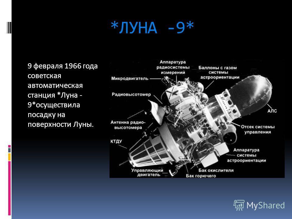 *ЛУНА -9* 9 февраля 1966 года советская автоматическая станция *Луна - 9*осуществила посадку на поверхности Луны.