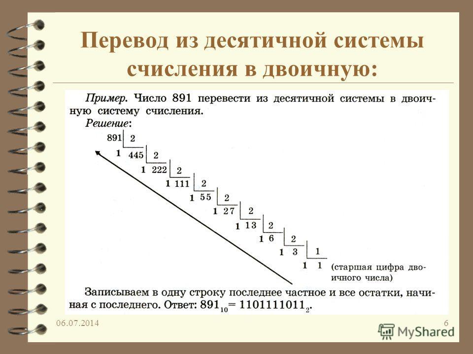 06.07.20146 Перевод из десятичной системы счисления в двоичную: