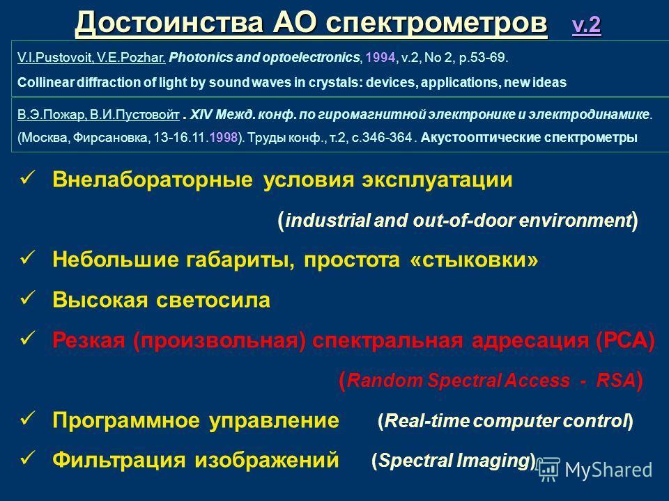 4 Достоинства АО спектрометров v.2 В.Э.Пожар, В.И.Пустовойт. XIV Межд. конф. по гиромагнитной электронике и электродинамике. (Москва, Фирсановка, 13-16.11.1998). Труды конф., т.2, с.346-364. Акустооптические спектрометры V.I.Pustovoit, V.E.Pozhar. Ph