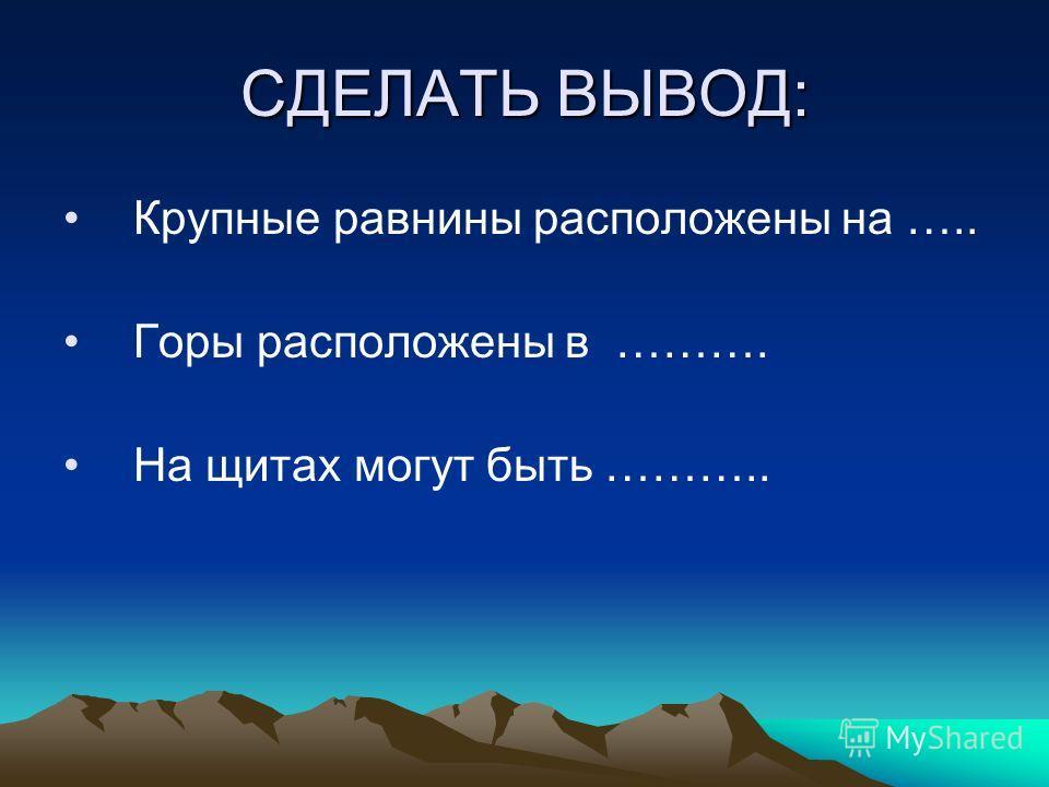 СДЕЛАТЬ ВЫВОД: Крупные равнины расположены на ….. Горы расположены в ………. На щитах могут быть ………..