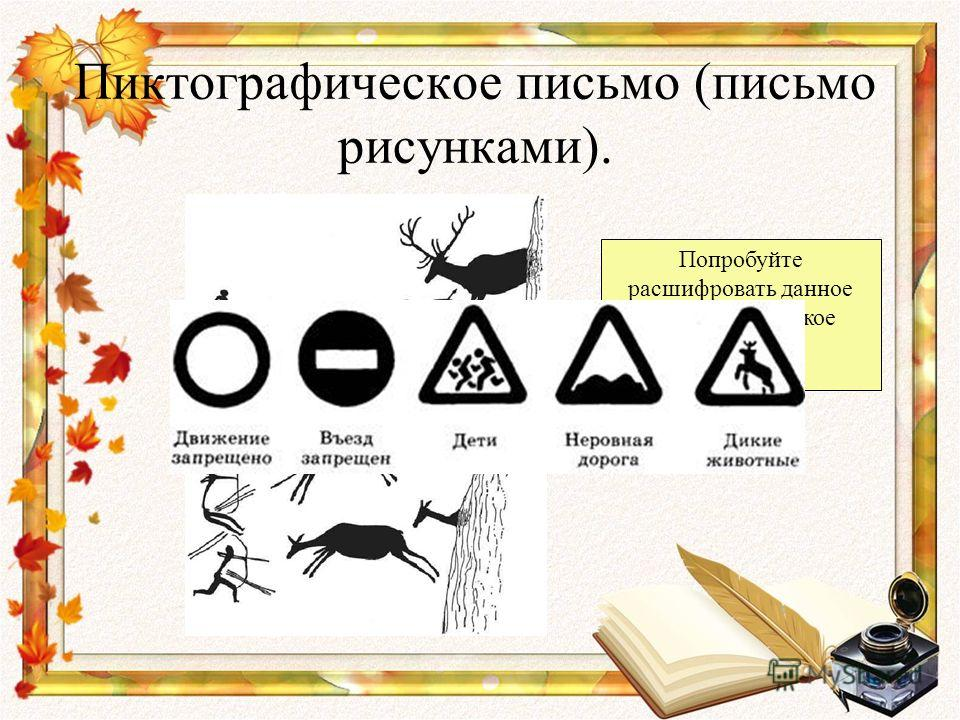 Пиктографическое письмо (письмо рисунками). Попробуйте расшифровать данное пиктографическое письмо