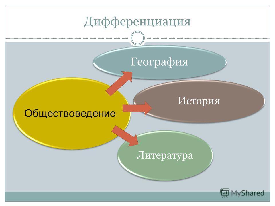 Дифференциация География История Литература Обществоведение