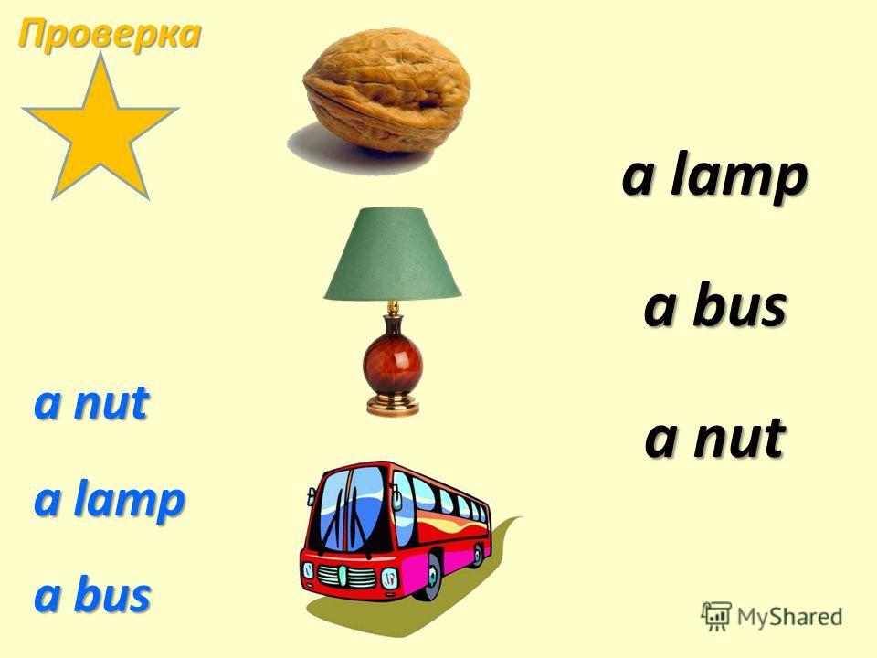 a nut a lamp a bus a lamp a lamp a nut a nut a bus a bus Проверка