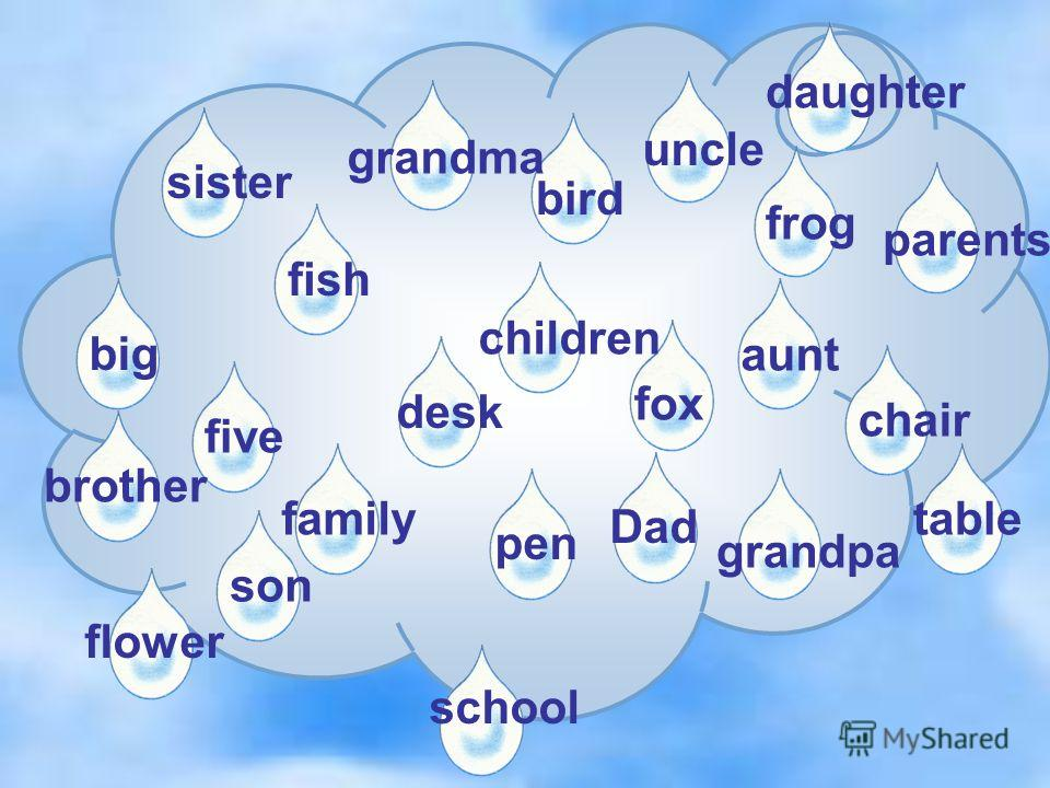 flower five desk pen bird fox frog chairfish family big sister uncle brother aunt children grandma grandpa daughter parents Dad son school table