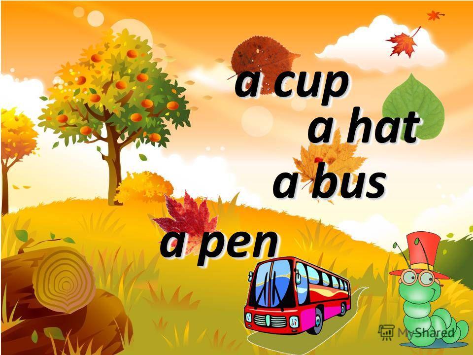 a lamp a hen a bus a pig