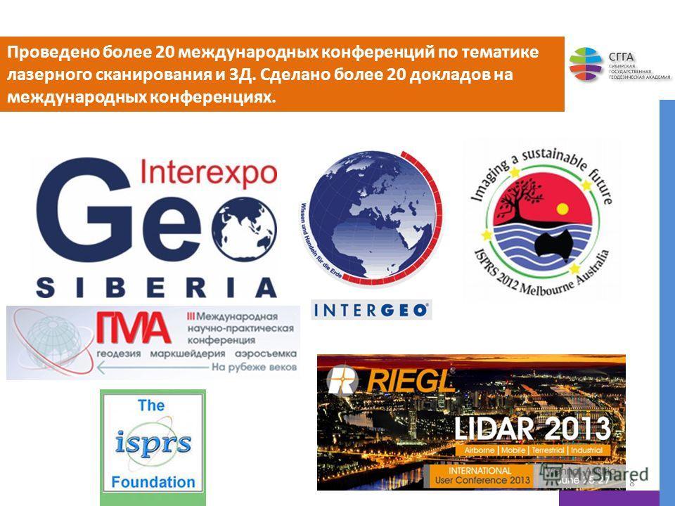Проведено более 20 международных конференций по тематике лазерного сканирования и 3Д. Сделано более 20 докладов на международных конференциях. 8