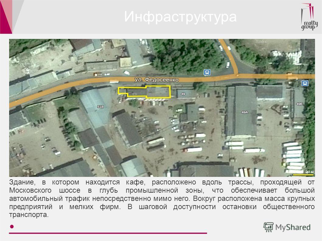 Инфраструктура Здание, в котором находится кафе, расположено вдоль трассы, проходящей от Московского шоссе в глубь промышленной зоны, что обеспечивает большой автомобильный трафик непосредственно мимо него. Вокруг расположена масса крупных предприяти