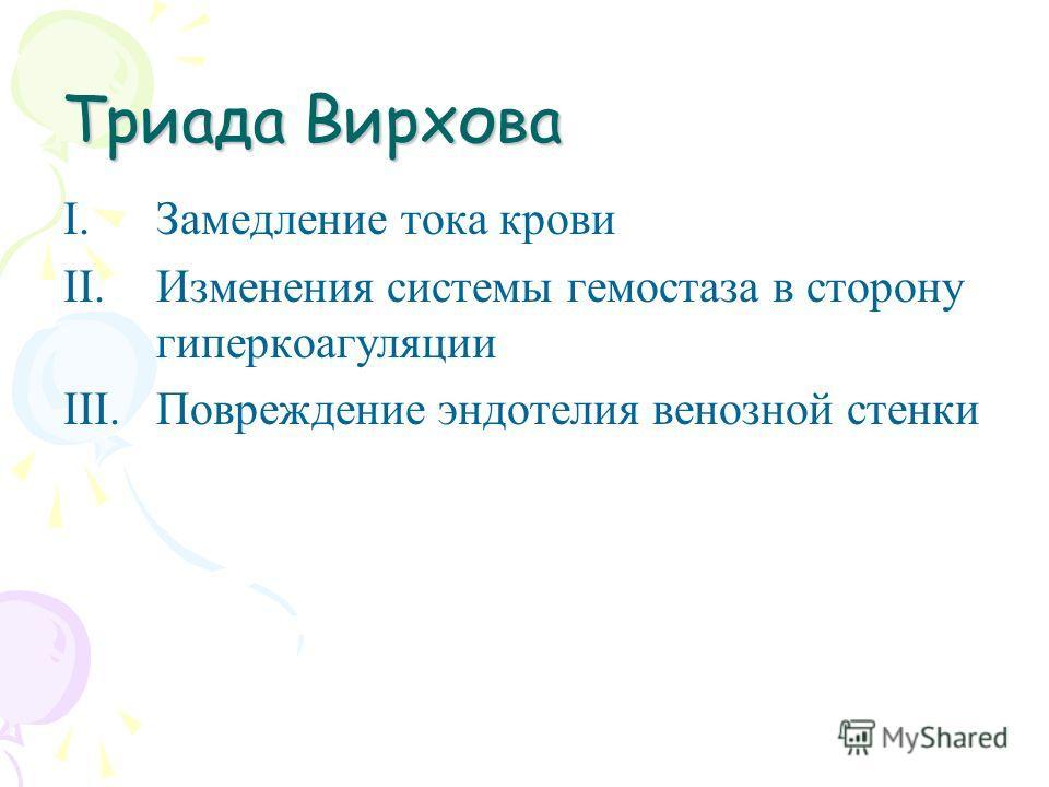 Триада Вирхова I.Замедление тока крови II.Изменения системы гемостаза в сторону гиперкоагуляции III.Повреждение эндотелия венозной стенки