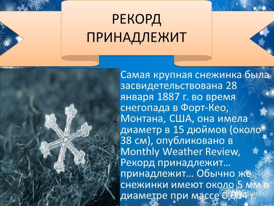 Самая крупная снежинка была засвидетельствована 28 января 1887 г. во время снегопада в Форт-Кео, Монтана, США, она имела диаметр в 15 дюймов (около 38 см), опубликовано в Monthly Weather Review, Рекорд принадлежит… принадлежит… Обычно же снежинки име