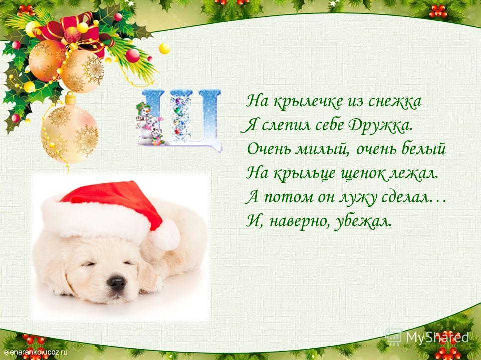 На крылечке из снежка Я слепил себе Дружка. Очень милый, очень белый На крыльце щенок лежал. А потом он лужу сделал… И, наверно, убежал.