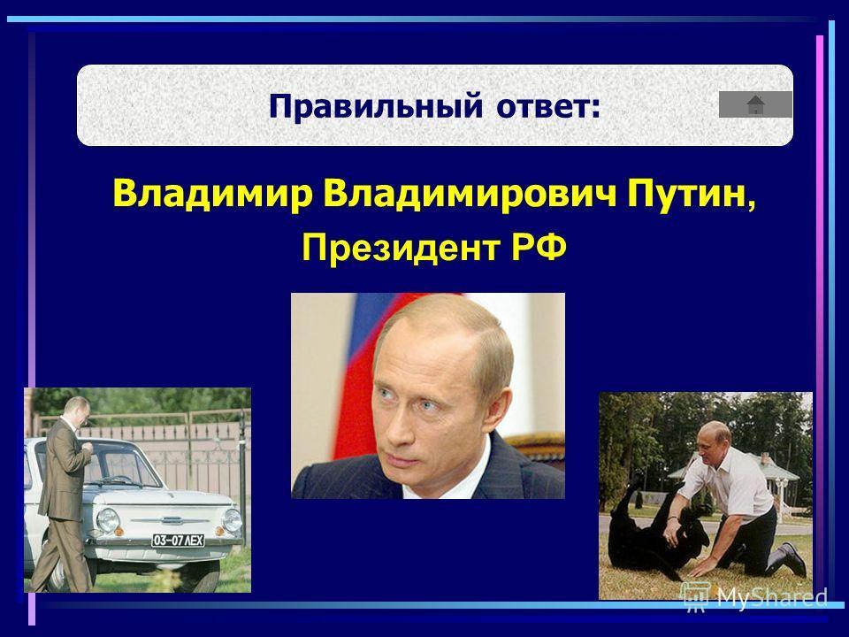 Правильный ответ: Владимир Владимирович Путин, Президент РФ