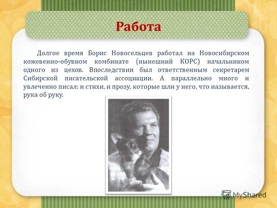 Работа Долгое время Борис Новосельцев работал на Новосибирском кожевенно-обувном комбинате (нынешний КОРС) начальником одного из цехов. Впоследствии был ответственным секретарем Сибирской писательской ассоциации. А параллельно много и увлеченно писал