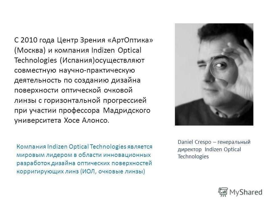 С 2010 года Центр Зрения «Арт Оптика» (Москва) и компания Indizen Optical Technologies (Испания)осуществляют совместную научно-практическую деятельность по созданию дизайна поверхности оптической очковой линзы с горизонтальной прогрессией при участии