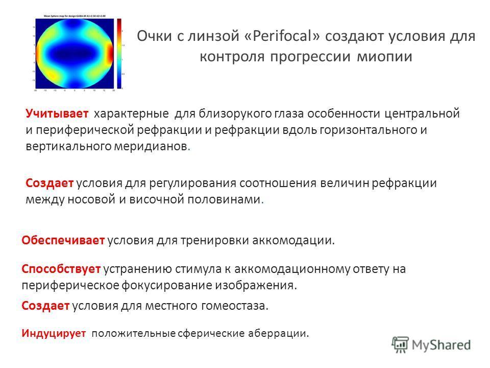 Очки с линзой «Perifocal» создают условия для контроля прогрессии миопии Обеспечивает условия для тренировки аккомодации. Способствует устранению стимула к аккомодационному ответу на периферическое фокусирование изображения. Учитывает характерные для