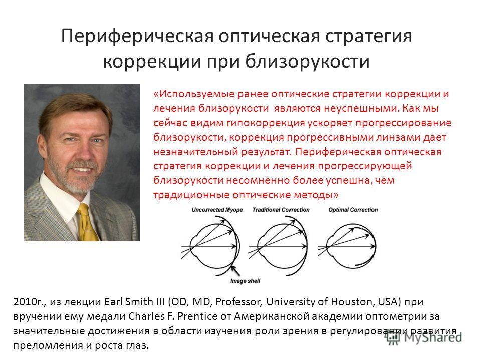 Периферическая оптическая стратегия коррекции при близорукости «Используемые ранее оптические стратегии коррекции и лечения близорукости являются неуспешными. Как мы сейчас видим гиперкоррекция ускоряет прогрессирование близорукости, коррекция прогре